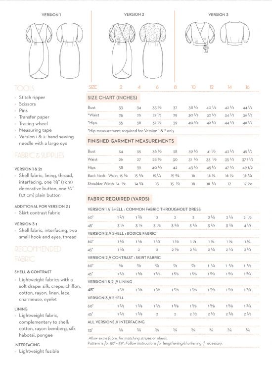 nicola sewing pattern size guide